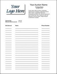 Silent Auction Bid Sheet Template Word Silent Auction Bid Sheet Free Silent Auction Bid Sheets Silent