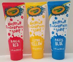 bathtub design crayola boys girls finger paint bathtub soap pacific blue radical red lemon yellow bottles