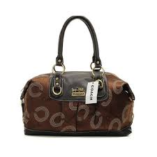 New Coach Logo In Monogram Medium Coffee Satchels Doc Sale UK snN61