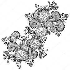 Zen каракули цветы черные на белом фоне для упаковки или для