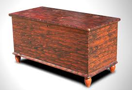 paint decorated blanket chest on turnip feet pennsylvania circa 1840 angle view