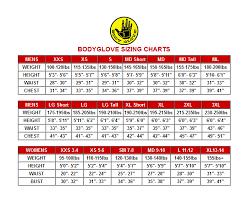 Body Glove Wetsuit Size Chart Body Glove Pro 3 Wetsuit Size Chart Images Gloves And