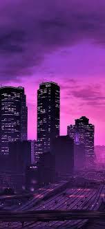 GTA 5, city at night, purple style ...