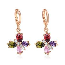 5pairs 1 lot wedding party gift whole colored cubic zirconia crystal gems rose gold drop earrings fashion for women earrings
