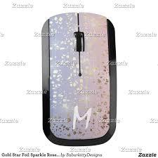 Wireless Mouse Cat Design Gold Star Foil Sparkle Rose Quartz Serenity Blue Wireless