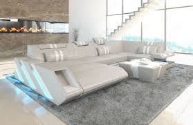 modern leather sofa. Modern Leather Sofa With LED Lights An USB - Beige-white
