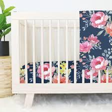 attractive navy midnight fl bouquet crib bedding pink and navy crib bedding