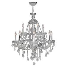 provence collection 12 light chrome finish and clear crystal chandelier 28 d x 31 h two