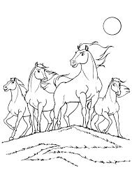 Kleurplaat Een Groep Paarden Op De Heuveltop Kleurplaten Om In Te