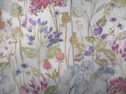 Curtain Fabric Voyage Decoration Lythmore Hedgerow Floral Designer Curtain Fabric