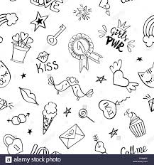 Girly Designs Seamless Pattern With Hand Drawn Girly Doodles Repeating