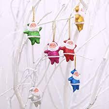 <b>Glitter</b> Mini Santa 6 pcs <b>Christmas</b> Decoration + Free <b>Cartoon</b>...