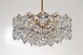 3 tiered pendant lamp with 46 faceted crystals and gilt brass from kinkeldey 1970s