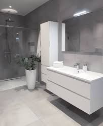 modern bathrooms ideas. Exellent Bathrooms Wall Hung Handleless Bathroom Furniture And A Grey Colour Scheme Make  This Contemporary Design Bang Ontrend On Modern Bathrooms Ideas