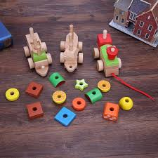 Wooden Bead Game wooden toys Cartoon Animals Fruit Block Stringing Threading Beads 96