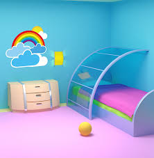 rainbow and clouds wall decal