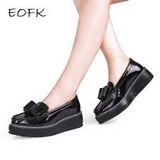 eofk women flats shoes woman black patent leather slip on bow knot casual loafers women s low bow flat platform shoes color black shoe size 6