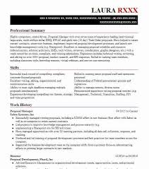Proposal Manager Resume Example First Data Government