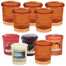 yankee candle sunset orange coloured glass votive holders 6 pack 4 samplers