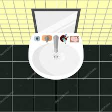 cartoon bathroom sink and mirror. Cartoon Vector Illustration. Top View On A Sink In Bathroom With Mirror And The Main Bath Accessories: Soap, Toothbrushes, Toothpaste, Cream. N