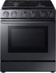 samsung black stainless stove. Perfect Black Samsung  Chef Collection 58 Cu Ft SlideIn Gas Convection Range In Black Stainless Stove