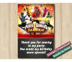 Free Downloads Thank You Cards Printable Power Rangers Thank You Card 4x6