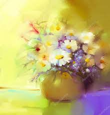 abstract oil painting of spring flower still life of white gerbera daisies lilac wildflowers colorful bouquet flowers in vase