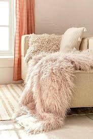 blush pink faux fur rug faux lamb fur throw blanket interior home decorations designs