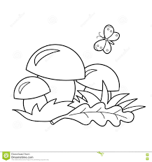 coloring page outline of cartoon mushrooms summer gifts of nature coloring book for