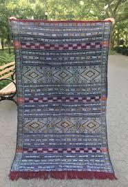 details about moroccan berber kilim rug carpet dark blue red geometric 6 6 x 3 10