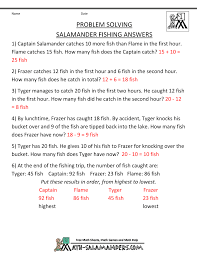 math problems for children st grade math problem worksheets salamander fishing · salamander fishing · salamander fishing answers