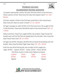 math problem worksheets salamander fishing salamander fishing salamander fishing answers