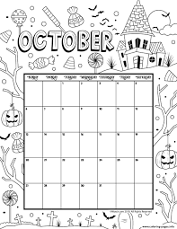 You can use this printable on the ipad using the procreate app or on your planner, using your favorite brushes and. October Coloring Calendar 2019 Coloring Pages Printable