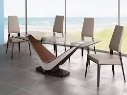 room modern camille glass:  dining room modern glass dining table design come with wooden base in brown white with