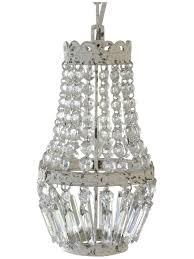 Kleiner Kronleuchter Mit Nur Einer Glühbirne Shabby Lüster Kristallleuchter Hängelampe Antik Weiß Creme Lampe Kristalle Vintage