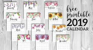 Printable Free Monthly Calendars Free Printable Calendar 2019 Floral Paper Trail Design