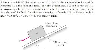 a block of weight w slides down an inclined plane with a constant velocity v while