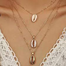 Fashion Beach Boho <b>Gold</b> Sea Shell <b>Chain Necklace</b> Choker ...