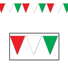 Pendant Banner Red White And Green Pennant Banner 12 Ft Partycheap