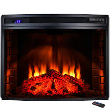 freestanding electric fireplace insert heater in black with curved tempered glass and remote control