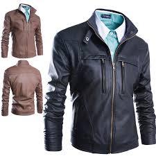 men s zipper pu leather jacket outwear motorcycle biker coat