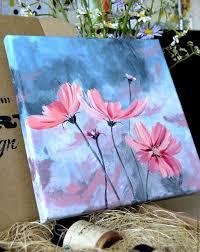 flower paintings handmade livemaster handmade painting acrylic cosmos