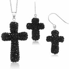 sterling silver black pave crystal cross pendant and earrings set with 18 chain c01193fpqsb