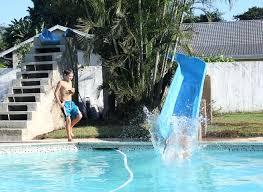 diy pool slide swimming inground rock diy pool slide build a swimming water rock