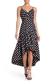 Eliza J Polka Dot Faux Wrap High Low Party Dress Hautelook