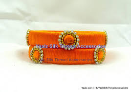 office orange. Silk Thread Bangle Earring Jumka-Yaalz Office Wear Bangles In Orange  Color(s) Office Orange