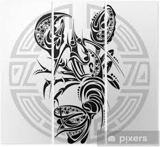 Triptych Znamení Raka Tetování Design