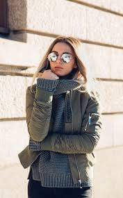 er jackets will go a treat with knitwear as shown here by sendi skopljak s cute winter look consisting of a cable knit sweater and a khaki er