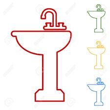 Badezimmer Waschbecken Set Linie Symbole Rot Grün Gelb Und Blau
