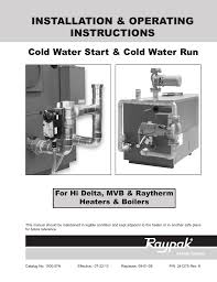 Cold Water Raypak Cold Water Start And Run Installation